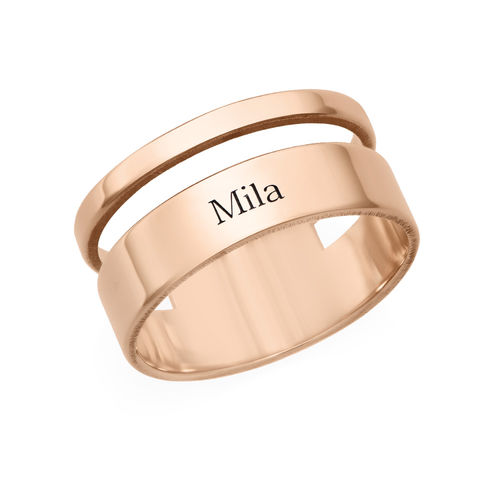 Asymmetrical Name Ring with Rose Gold Plating