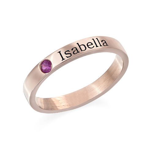 Stackable Birthstone Name Ring - 18ct Rose Gold Plated