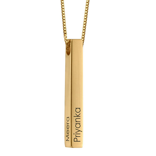3D Engraved Bar Necklace in Rose Gold Plating